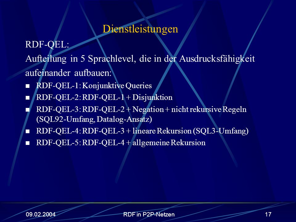 Dienstleistungen RDF-QEL: