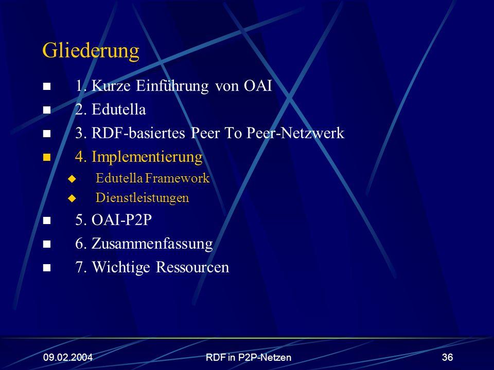 Gliederung 1. Kurze Einführung von OAI 2. Edutella