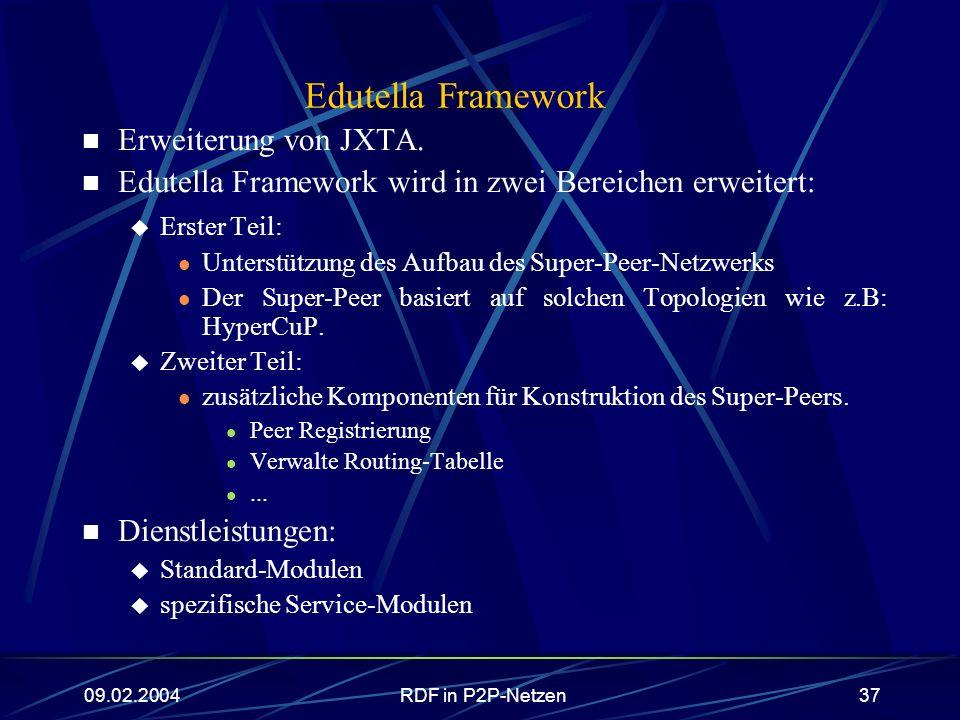 Edutella Framework Erweiterung von JXTA.