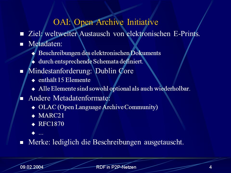 OAI: Open Archive Initiative