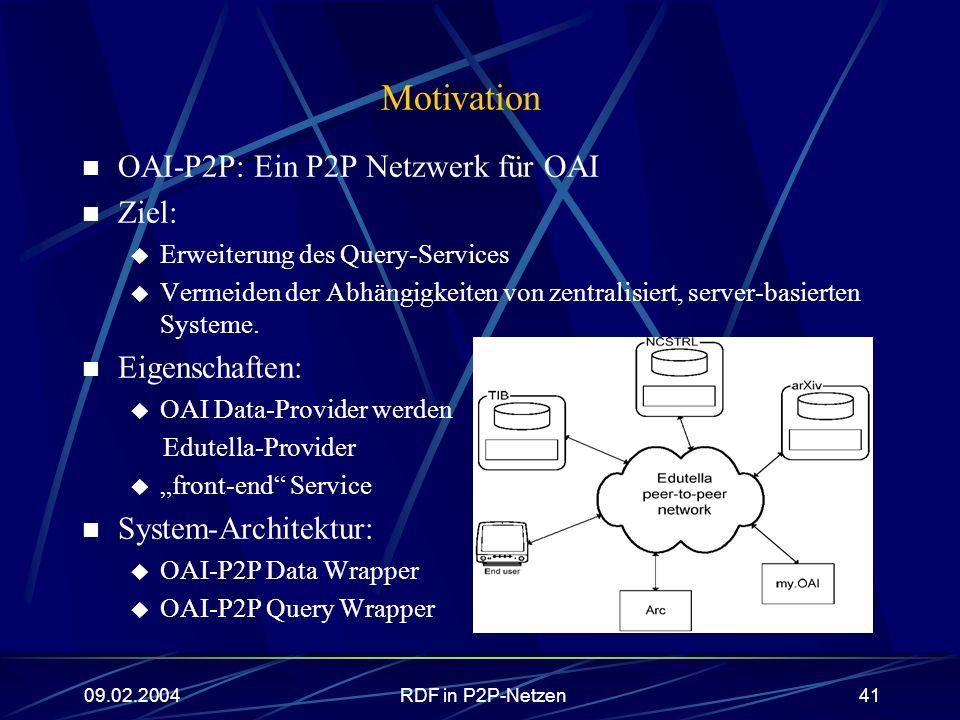 Motivation OAI-P2P: Ein P2P Netzwerk für OAI Ziel: Eigenschaften: