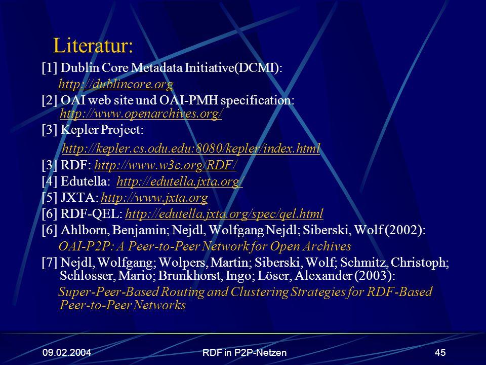 Literatur: http://kepler.cs.odu.edu:8080/kepler/index.html