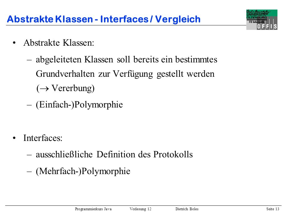 Abstrakte Klassen - Interfaces / Vergleich