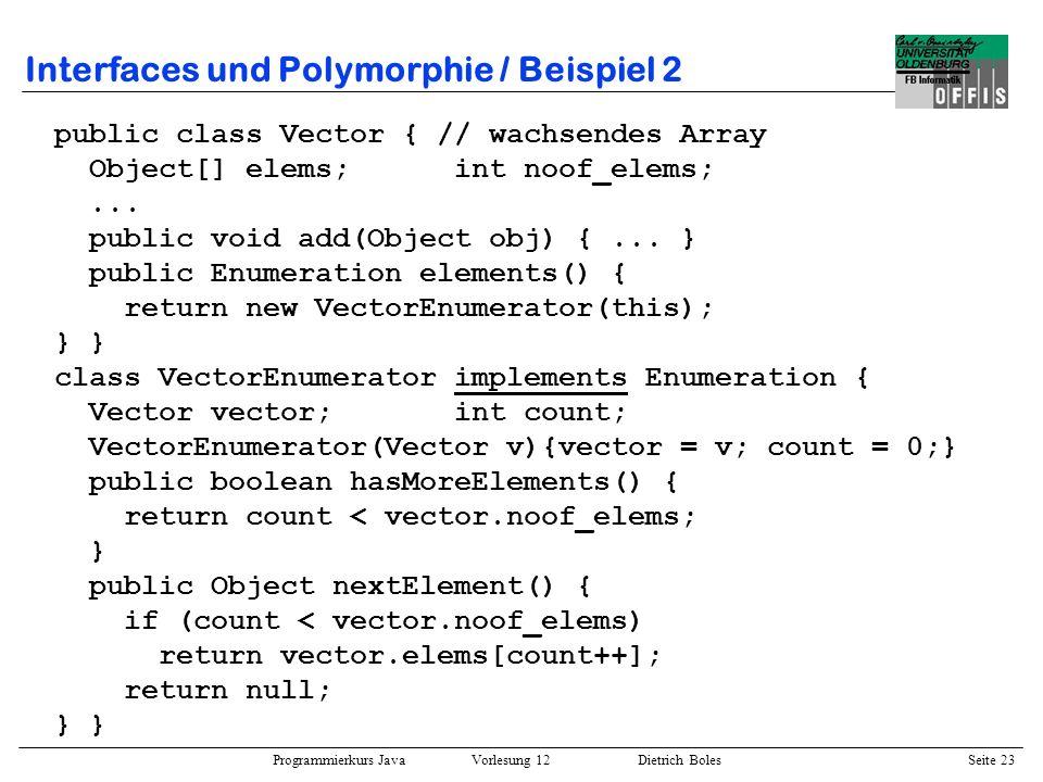 Interfaces und Polymorphie / Beispiel 2