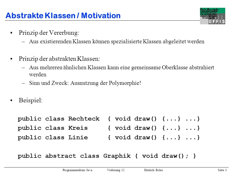Abstrakte Klassen / Motivation