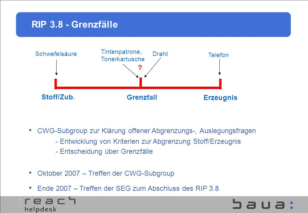 RIP 3.8 - Grenzfälle Stoff/Zub. Grenzfall Erzeugnis