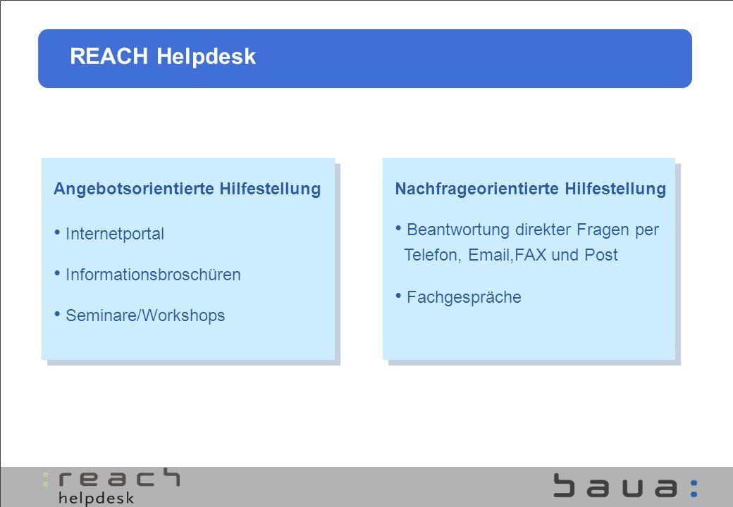 REACH Helpdesk Angebotsorientierte Hilfestellung Internetportal