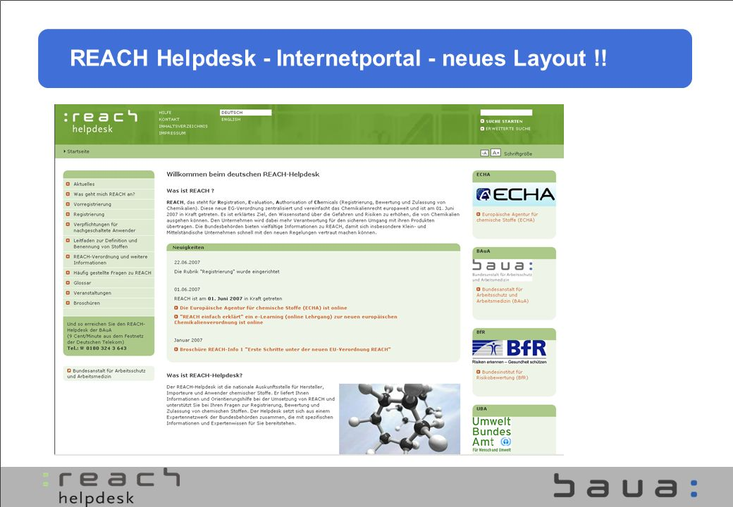 REACH Helpdesk - Internetportal - neues Layout !!