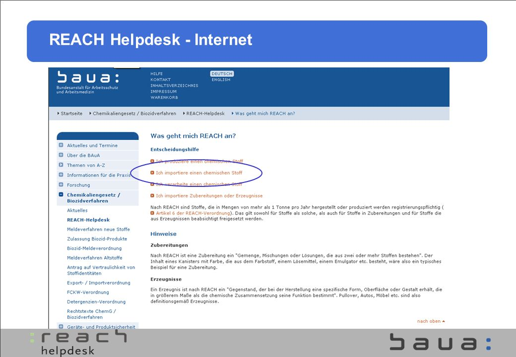 REACH Helpdesk - Internet