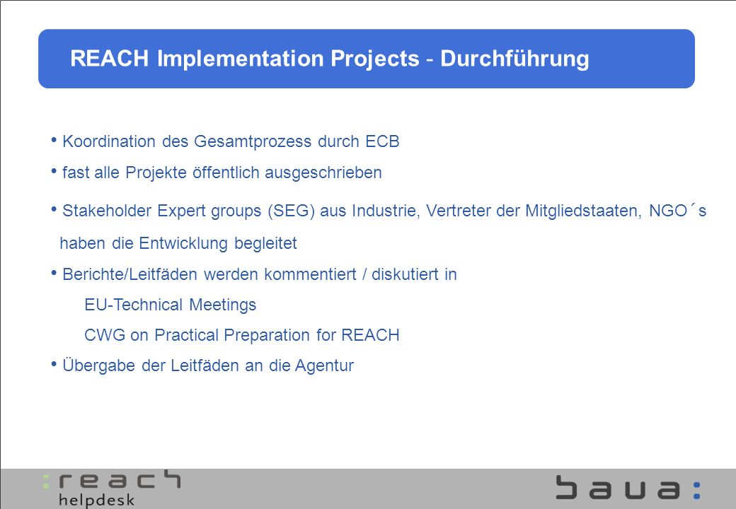 REACH Implementation Projects - Durchführung