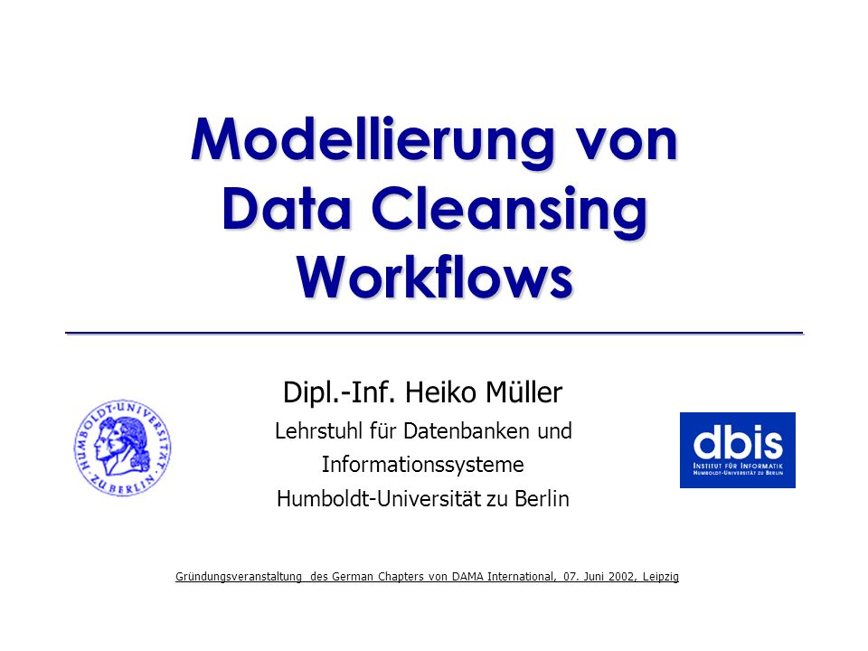 Modellierung von Data Cleansing Workflows
