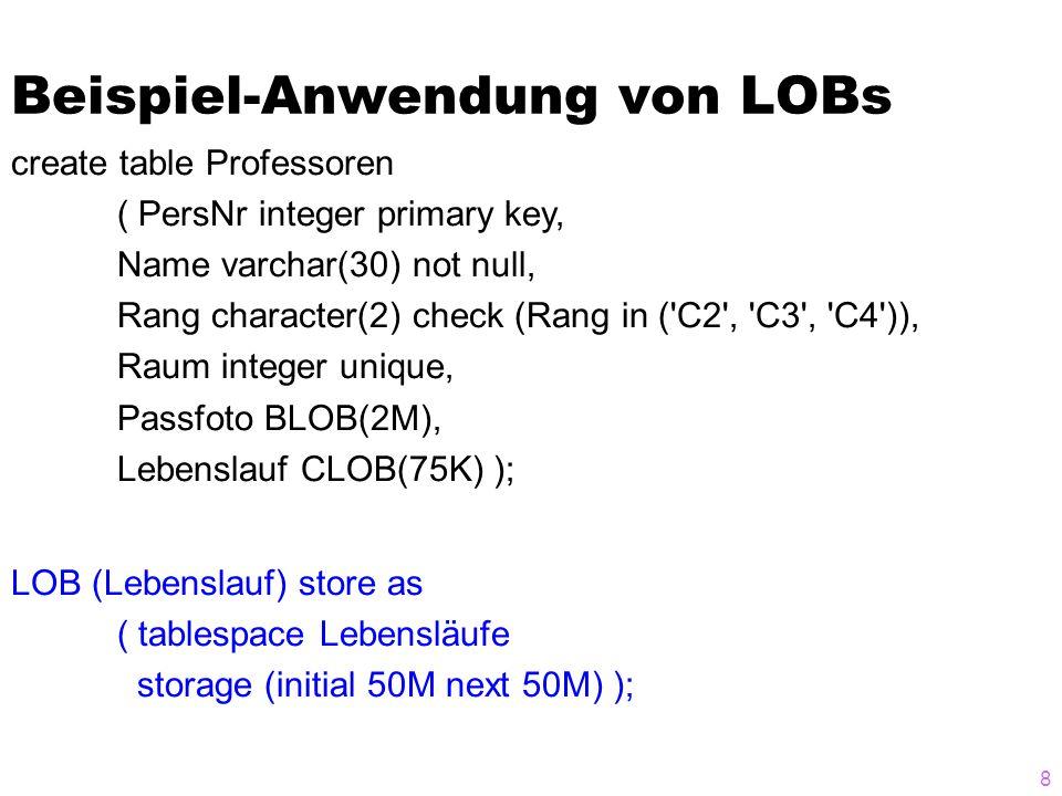 Beispiel-Anwendung von LOBs