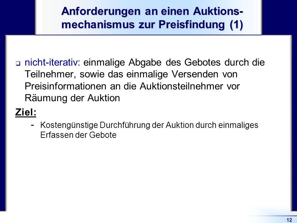 Anforderungen an einen Auktions-mechanismus zur Preisfindung (1)