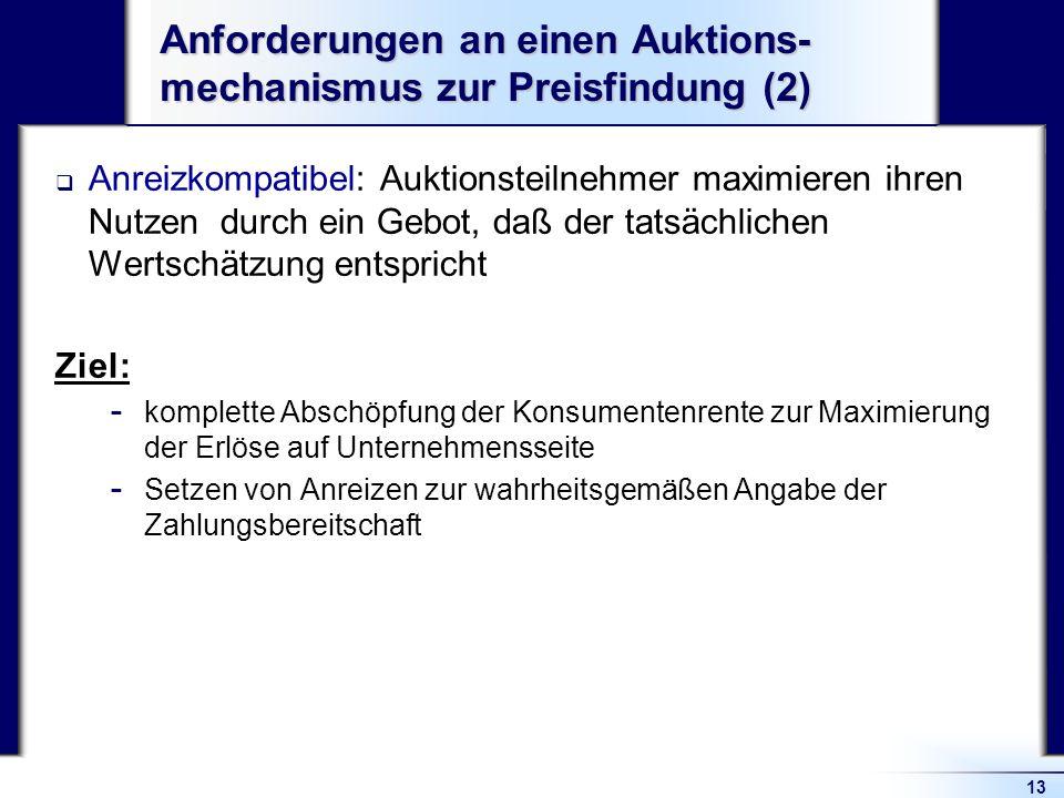 Anforderungen an einen Auktions-mechanismus zur Preisfindung (2)