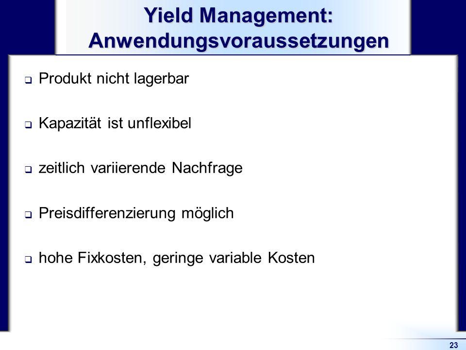 Yield Management: Anwendungsvoraussetzungen