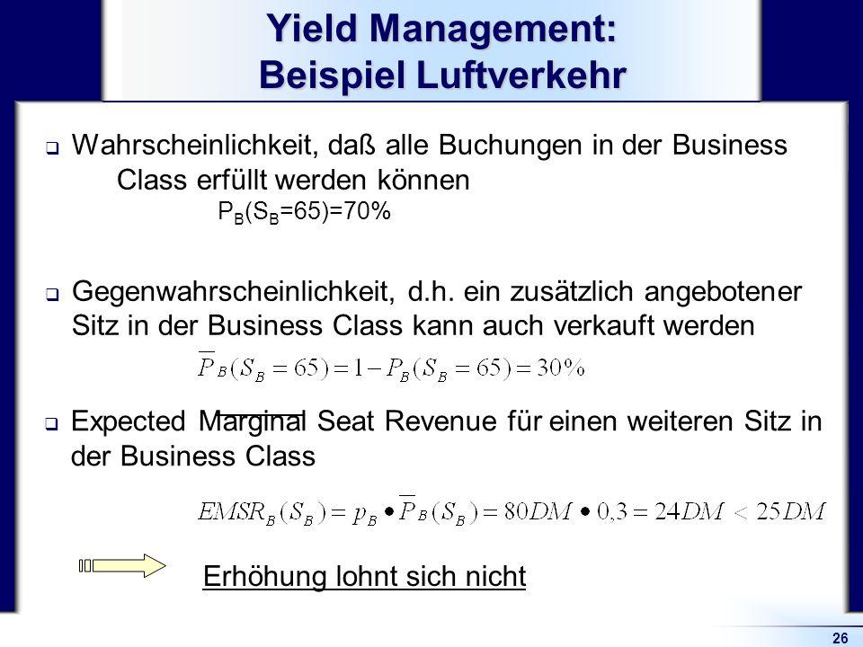 Yield Management: Beispiel Luftverkehr