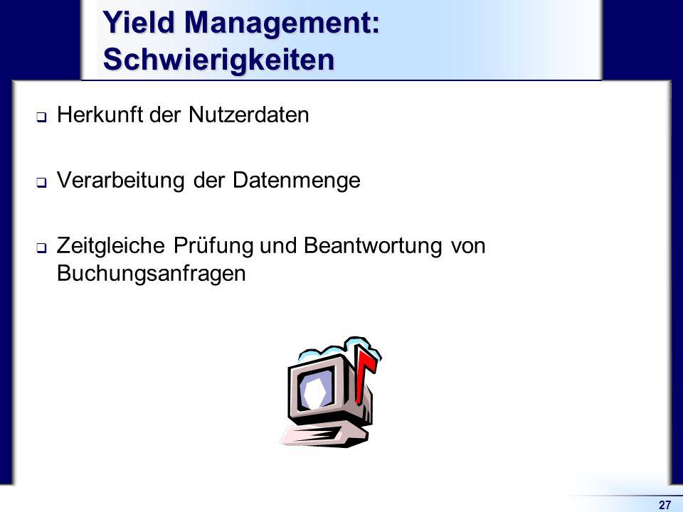 Yield Management: Schwierigkeiten