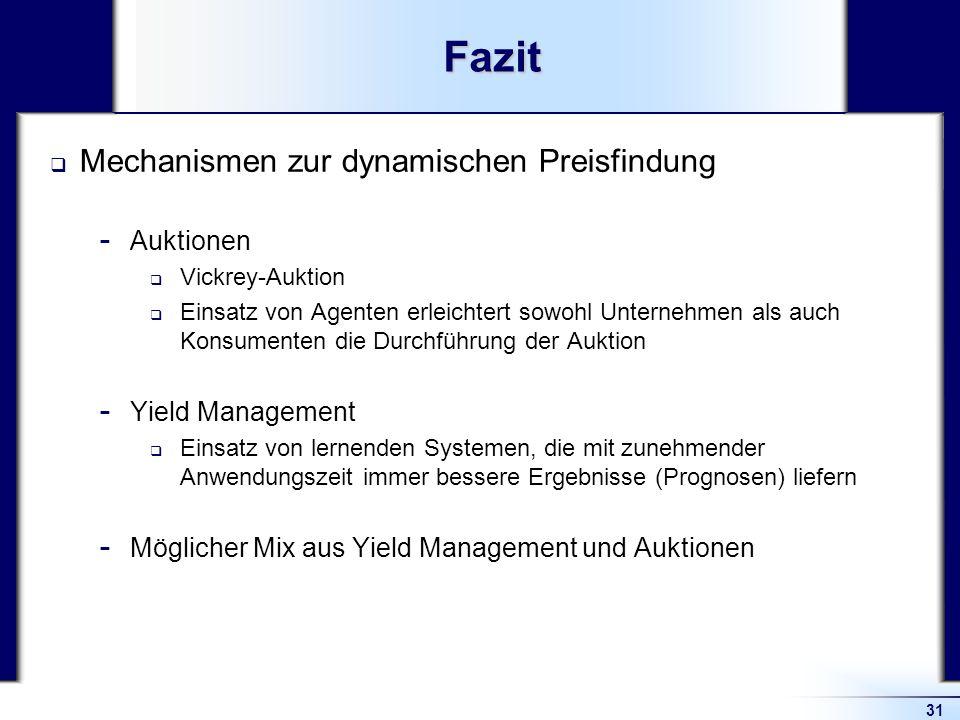 Fazit Mechanismen zur dynamischen Preisfindung Auktionen