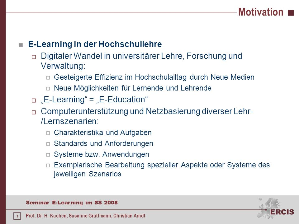 Motivation E-Learning in der Hochschullehre