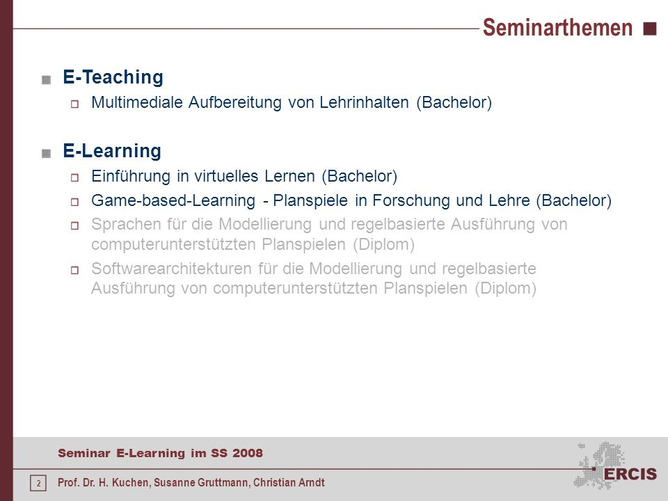 Seminarthemen E-Teaching E-Learning