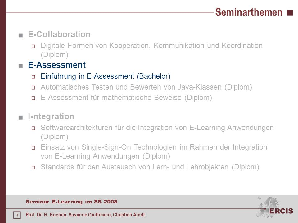 Seminarthemen E-Collaboration E-Assessment I-ntegration