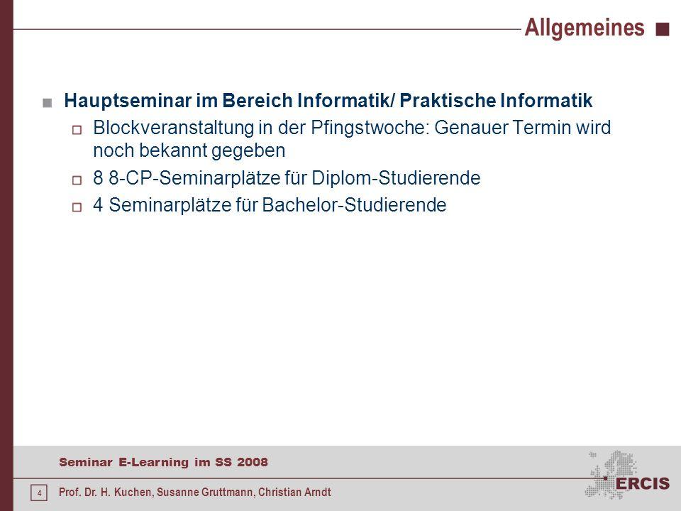 Allgemeines Hauptseminar im Bereich Informatik/ Praktische Informatik