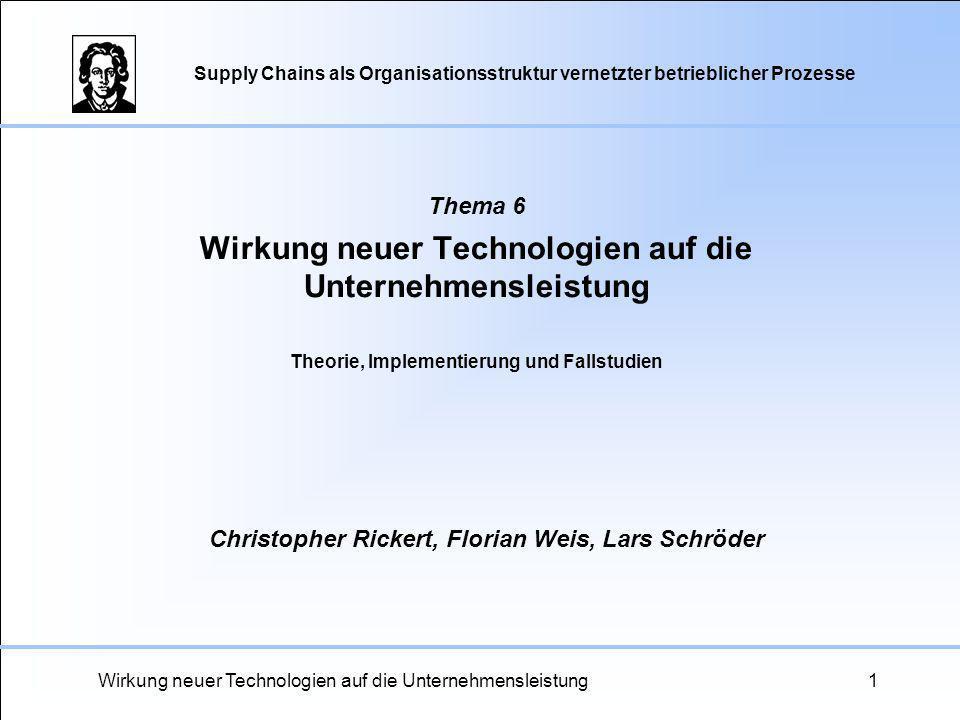 Thema 6 Wirkung neuer Technologien auf die Unternehmensleistung