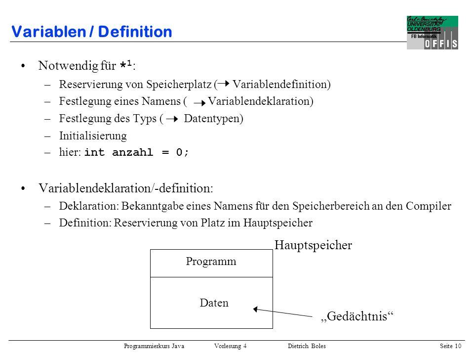 Variablen / Definition