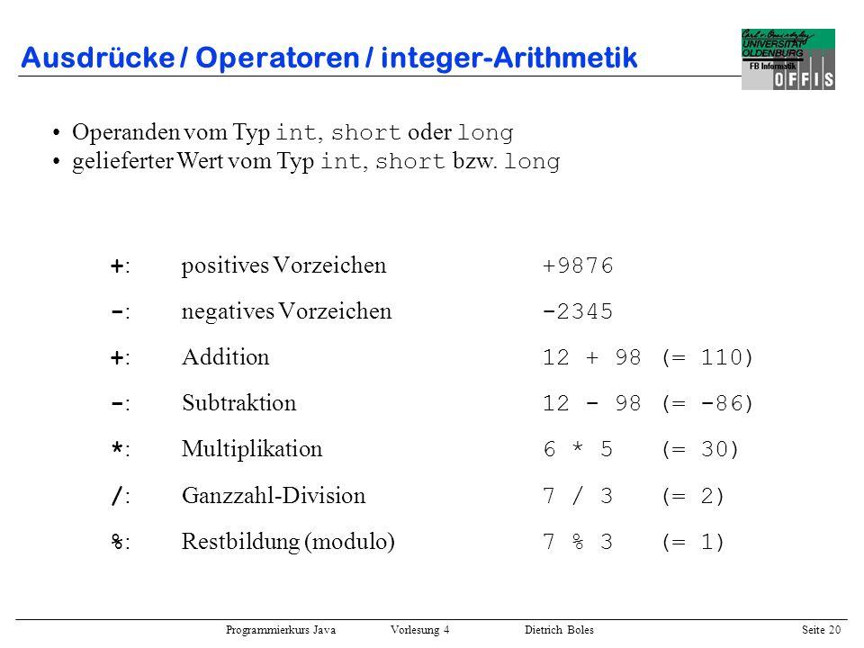 Ausdrücke / Operatoren / integer-Arithmetik