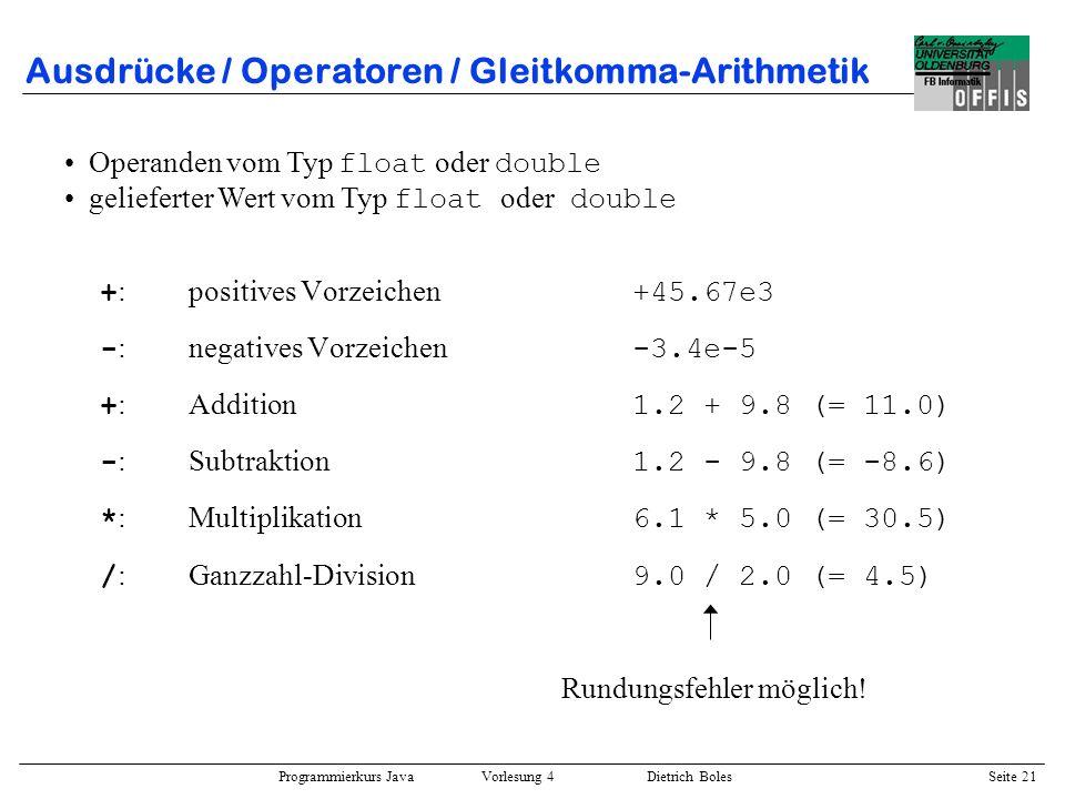 Ausdrücke / Operatoren / Gleitkomma-Arithmetik