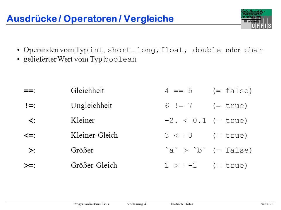 Ausdrücke / Operatoren / Vergleiche
