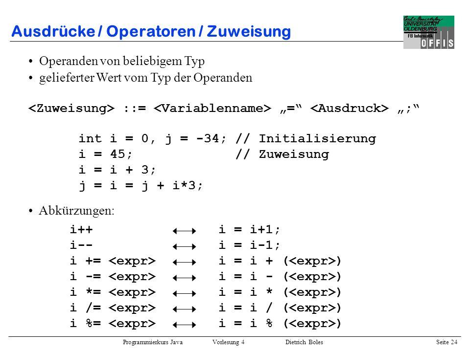 Ausdrücke / Operatoren / Zuweisung