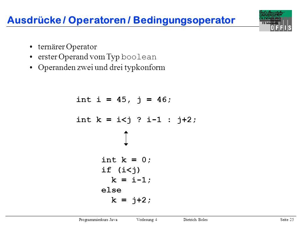 Ausdrücke / Operatoren / Bedingungsoperator