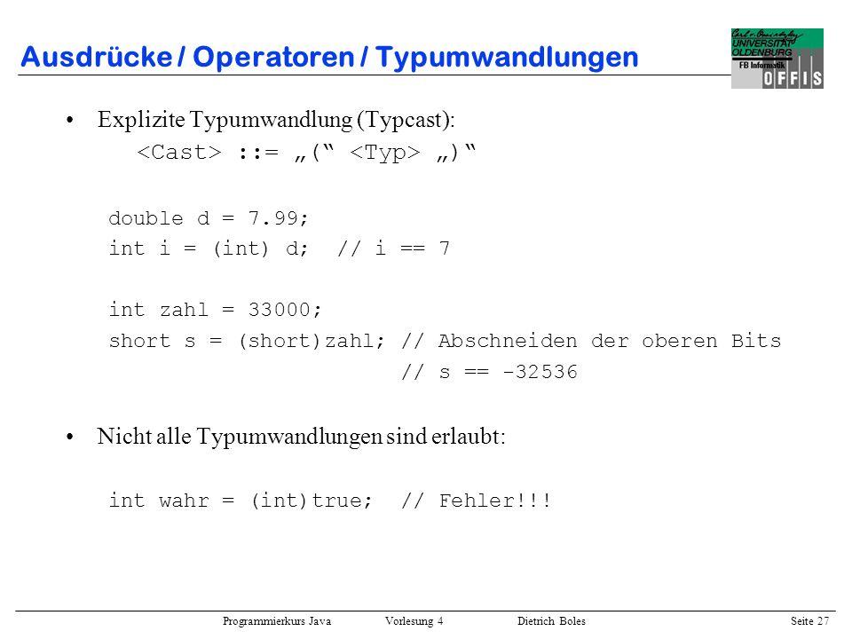 Ausdrücke / Operatoren / Typumwandlungen