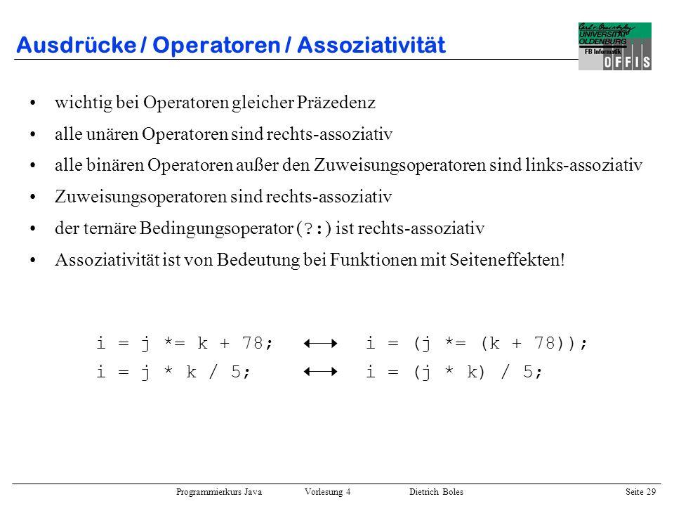 Ausdrücke / Operatoren / Assoziativität