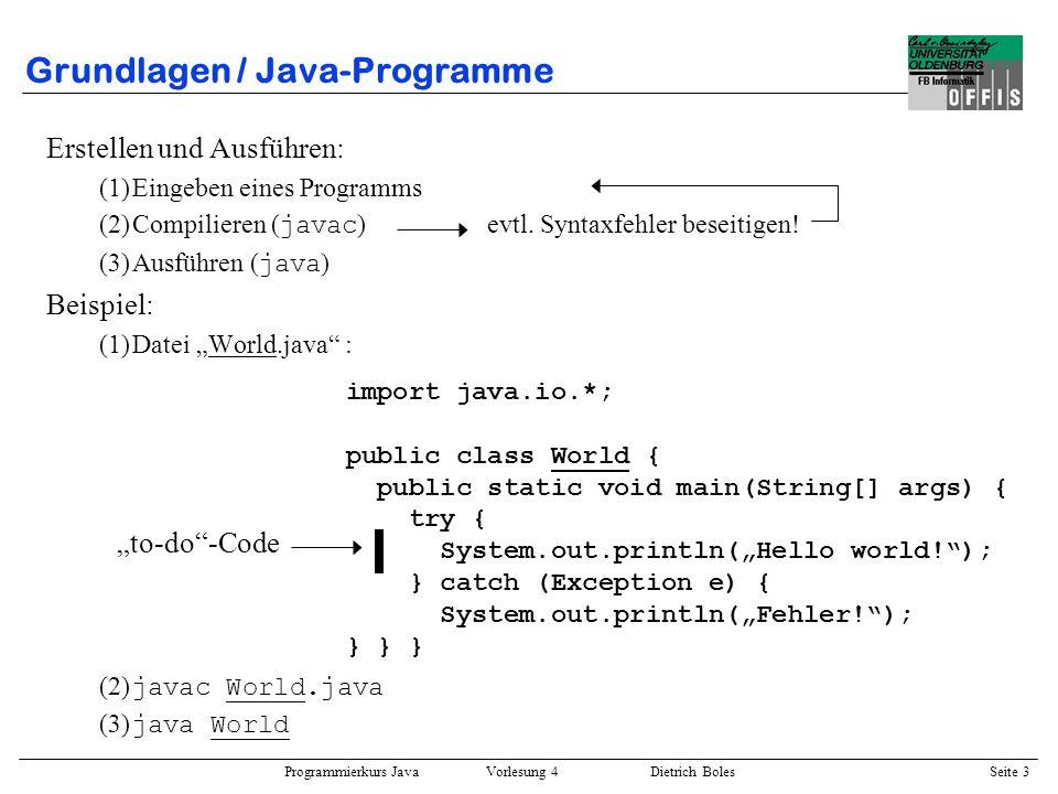 Grundlagen / Java-Programme