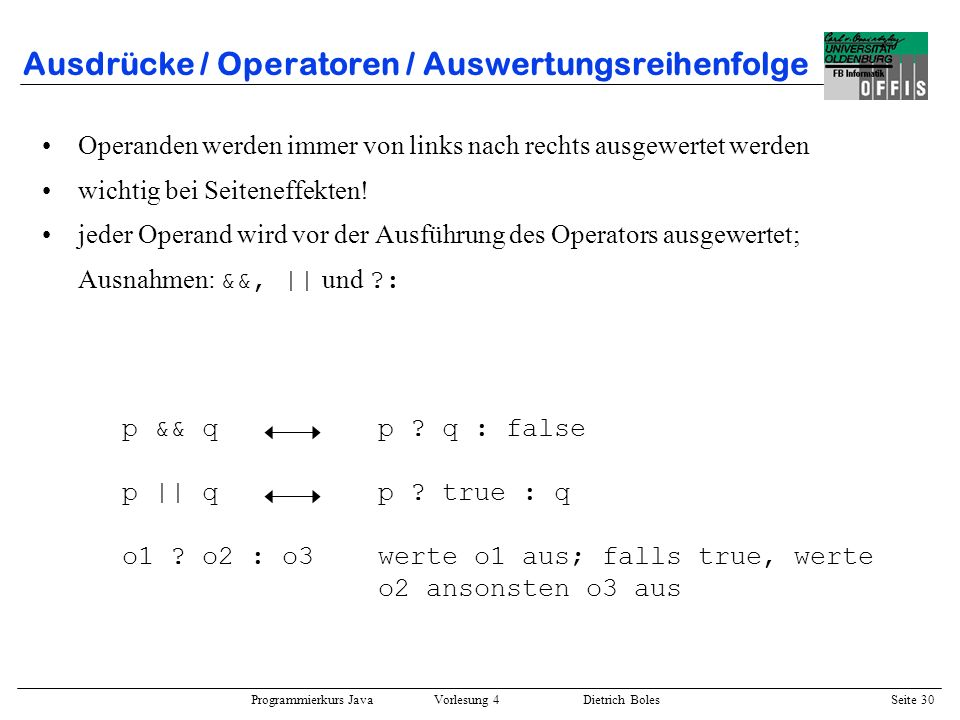 Ausdrücke / Operatoren / Auswertungsreihenfolge