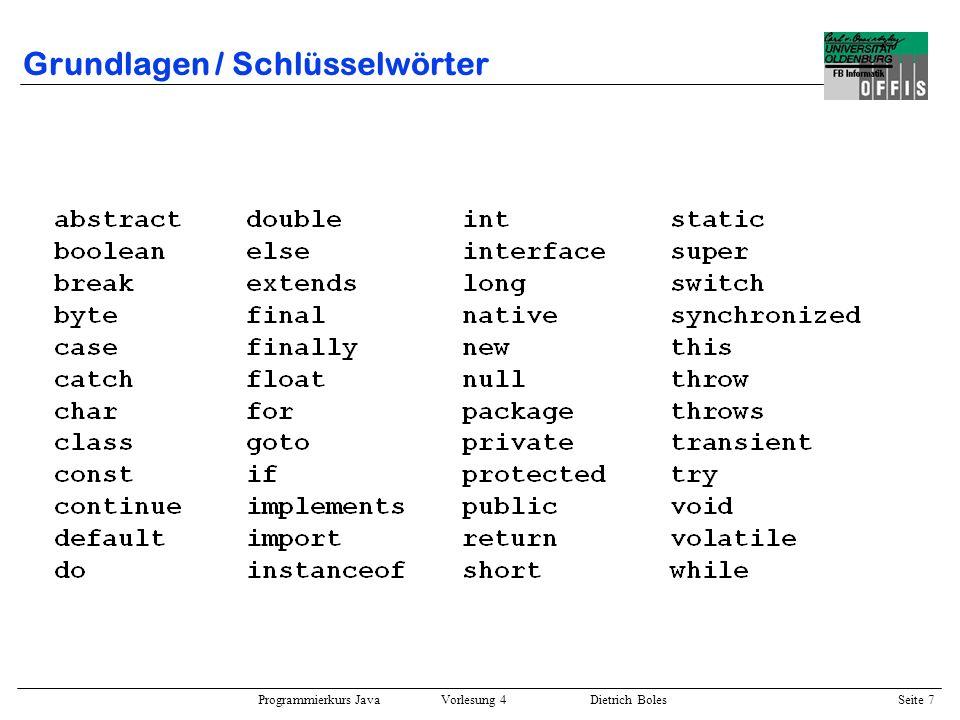 Grundlagen / Schlüsselwörter