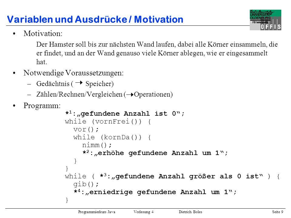 Variablen und Ausdrücke / Motivation
