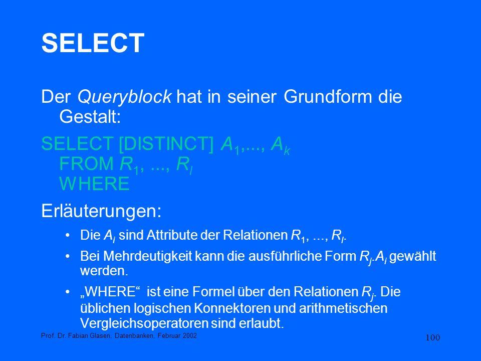 SELECT Der Queryblock hat in seiner Grundform die Gestalt: