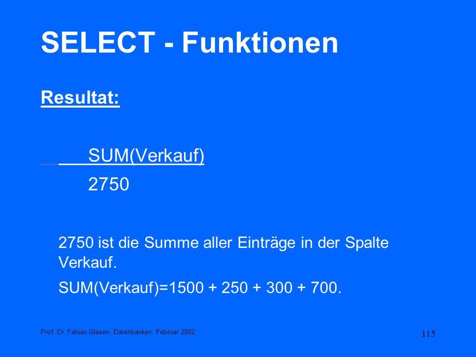 SELECT - Funktionen Resultat: SUM(Verkauf) 2750