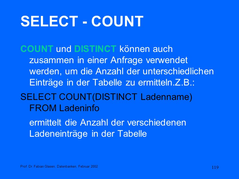 SELECT - COUNT
