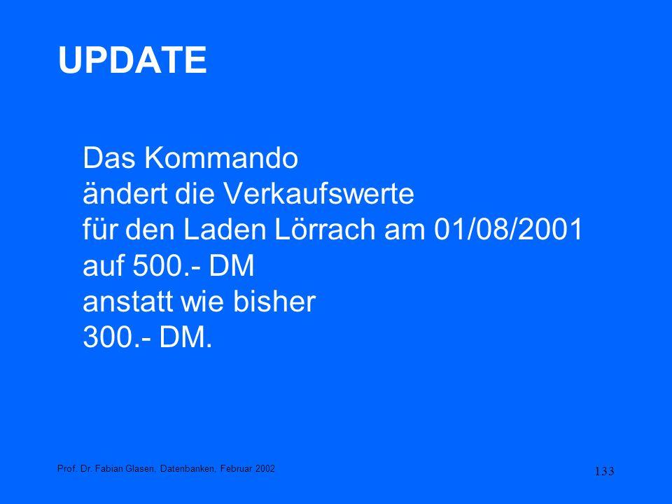 UPDATE Das Kommando ändert die Verkaufswerte für den Laden Lörrach am 01/08/2001 auf 500.- DM anstatt wie bisher 300.- DM.