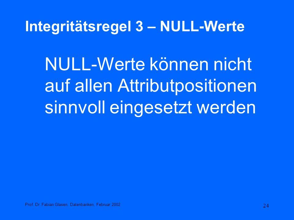 Integritätsregel 3 – NULL-Werte
