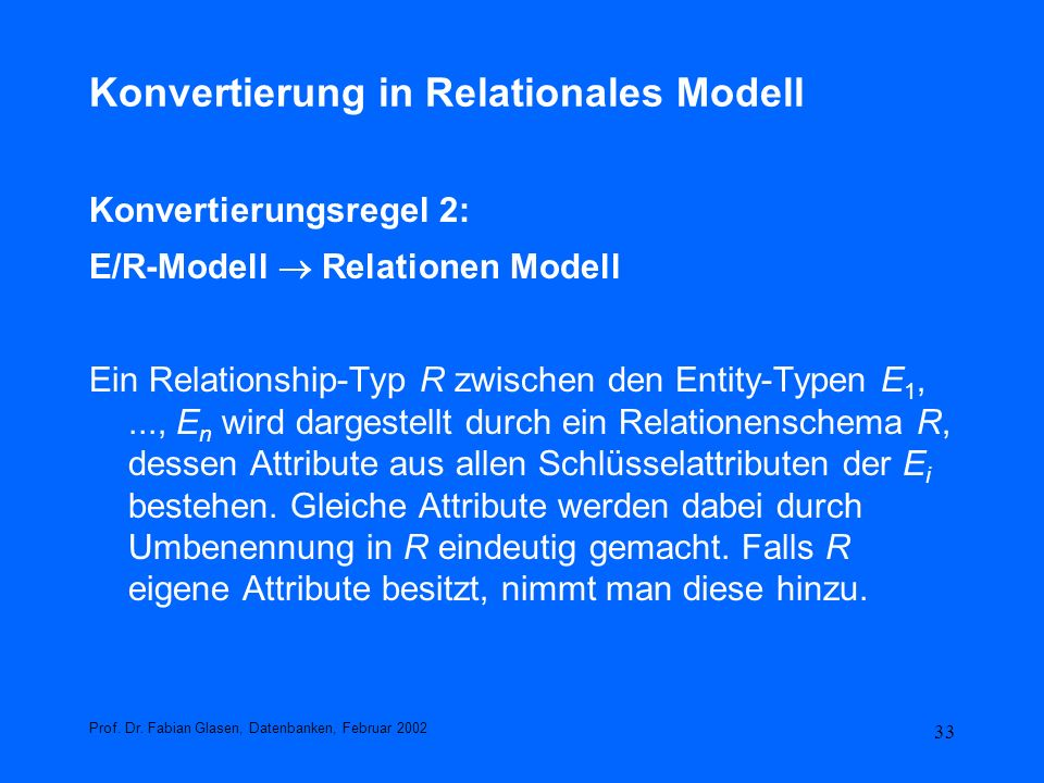 Konvertierung in Relationales Modell