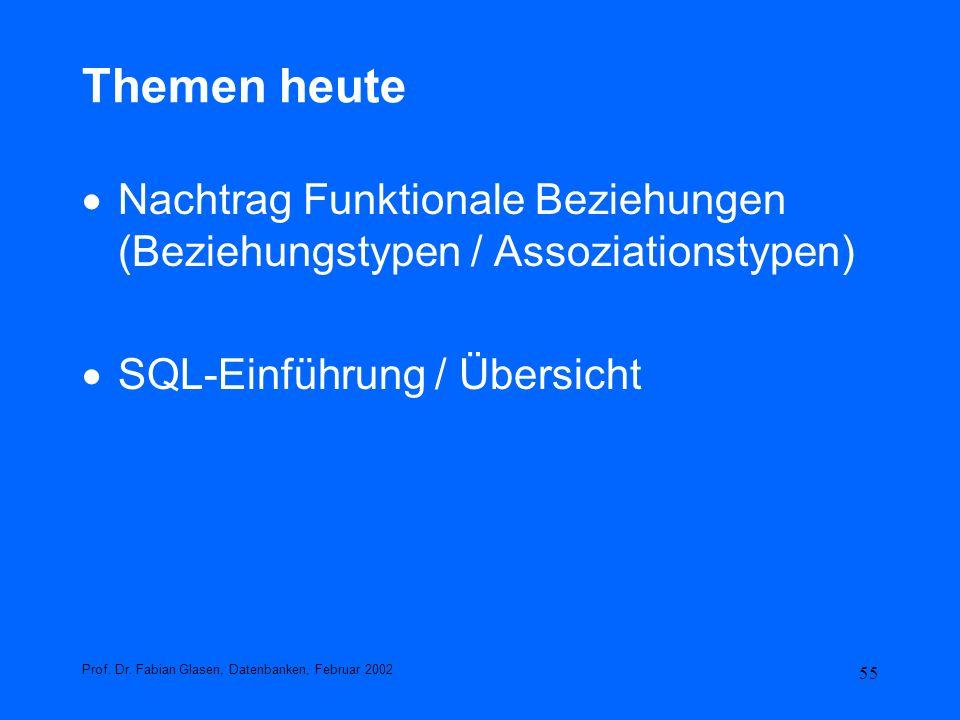 Themen heute Nachtrag Funktionale Beziehungen (Beziehungstypen / Assoziationstypen) SQL-Einführung / Übersicht.