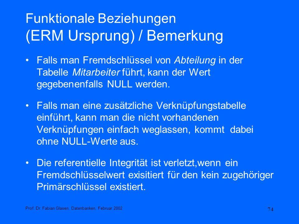 Funktionale Beziehungen (ERM Ursprung) / Bemerkung