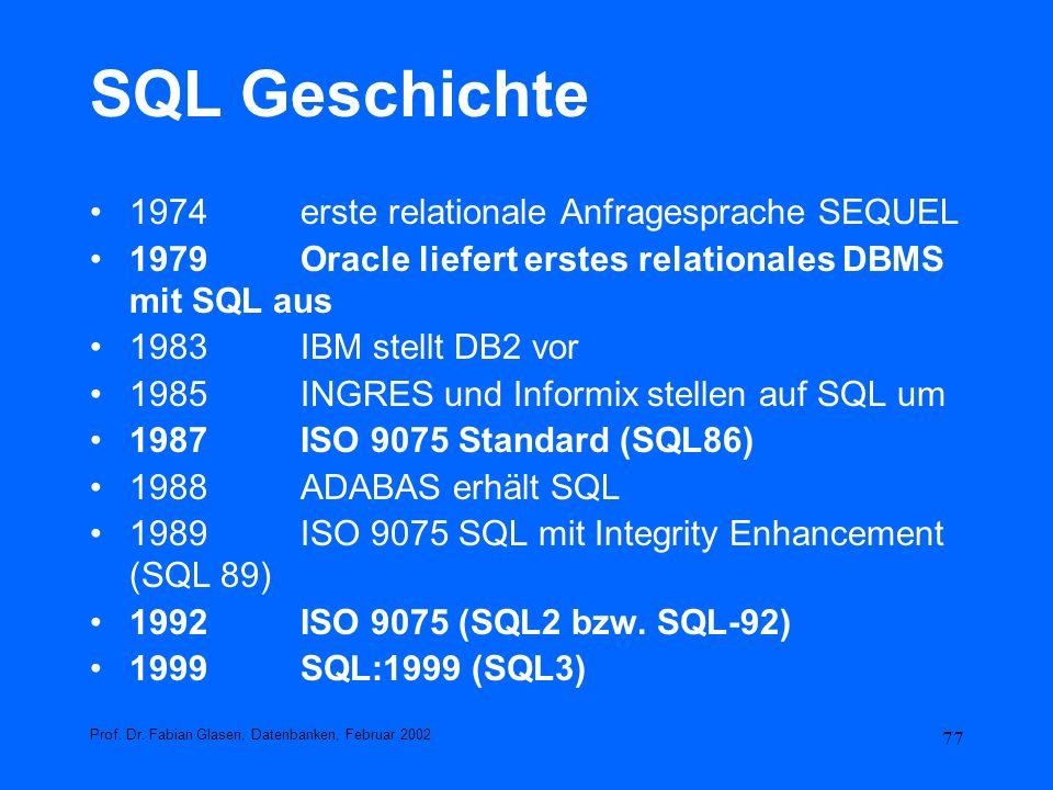 SQL Geschichte 1974 erste relationale Anfragesprache SEQUEL
