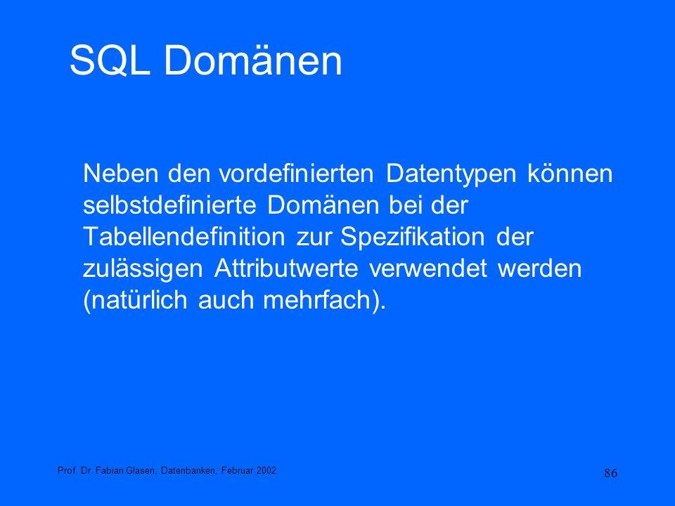SQL Domänen