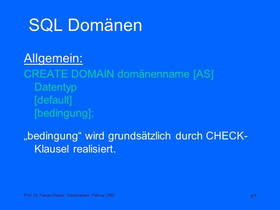 SQL Domänen Allgemein: